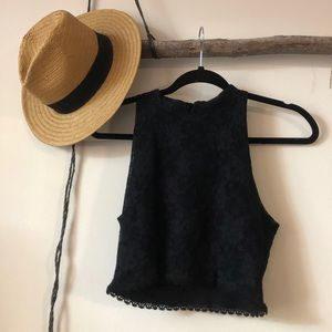 For love and lemons black crop top xs